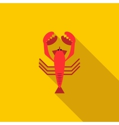 Boiled red crayfish icon flat style vector