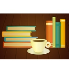 Books and cup of coffee on the table vector image vector image