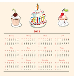 Calendar with cake for 2013 vector image