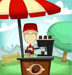 cartoon coffee stand shop at neighbor vector image