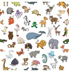 Childrens drawings doodle animals seamless pattern vector image