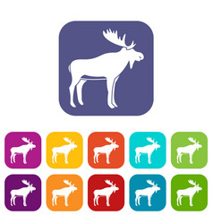 deer icons set flat vector image vector image