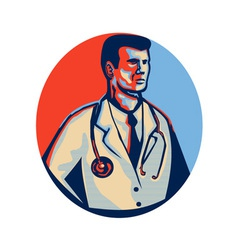 Doctor stethoscope standing retro vector