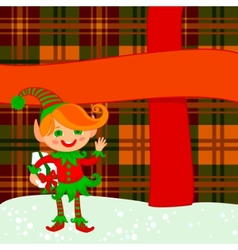 elf and big present vector image vector image