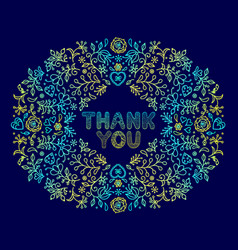 floral thank you card vector image vector image