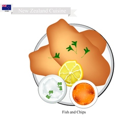 Fried fish a popular dish of new zealand vector