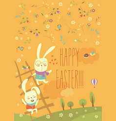 funny easter bunnies with ladder vector image