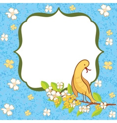 Greeting card with flowers and bird vector image