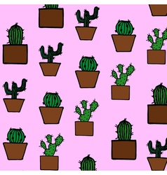 Hand drawn cactus pattern vector