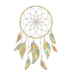 Hand drawn Dreamcatcher isolated on white vector image vector image