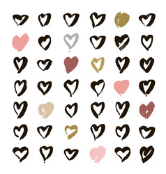 Heart icons set hand drawn icons and vector