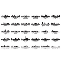 incredible set of usa city skyline vector image