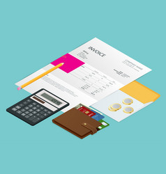 Isometric single invoice calculator and credit vector