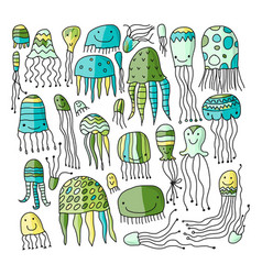 jellyfish collection sketch for your design vector image vector image