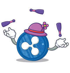 Juggling ripple coin character cartoon vector