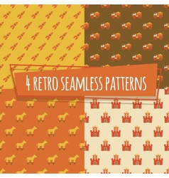 Kids retro seamless patterns with rockets and car vector