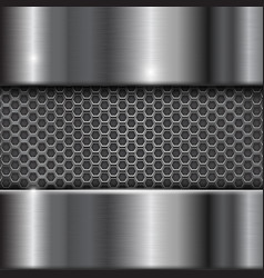 metal stainless steel background with perforation vector image vector image