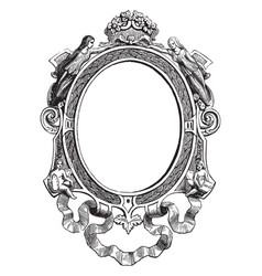 Miniature frame is made out of gold and oxidized vector