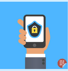 Mobile security app on smartphone screen user vector