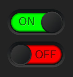 On and off toggle switch button red and green vector