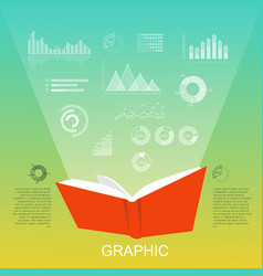 Open red book that lighten column charts diagrams vector