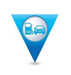 petrol station AND car BLUE triangular map vector image vector image