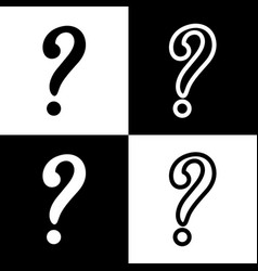 Question mark sign black and white icons vector