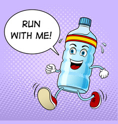 Run bottle of water pop art vector