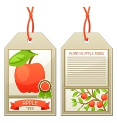 Sale tag of seedlings apple trees instructions vector