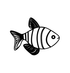 Silhouette clownfish aquatic animal icon vector
