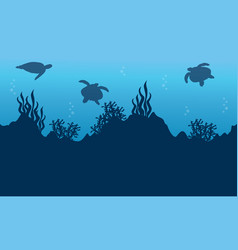 Silhouette of turtle and beauty reef landscape vector
