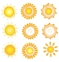 Suns twirly set vector image vector image