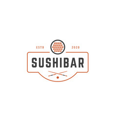 sushi shop logo template object and icons vector image vector image