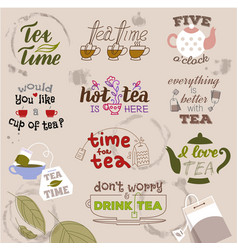 Teatime quote set lettering hand drawn cup vector