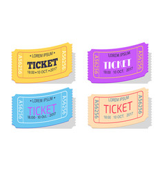 Ticket to performance with date sign set vector