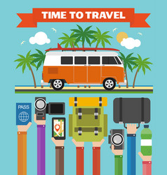 Time to travel modern design flat with minibus vector