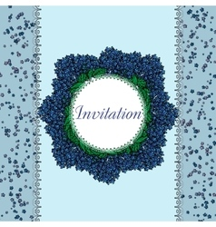 vintage card with circle spring blue flowers vector image vector image