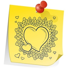 doodle sticky note heart wreath vector image