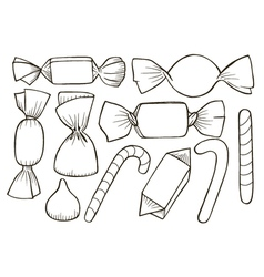 set of different candy vector image