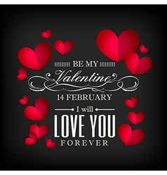 Valentines day red heart on black background vector
