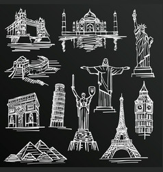 Chalkboard sketch of hand drawn tourist places vector