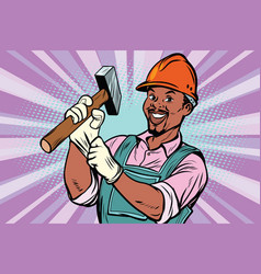 Construction worker with hammer vector