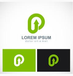 letter p arrow logo vector image