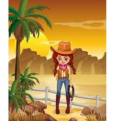 A cowgirl at the dessert vector