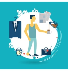 Businessman is going to work in the morning vector