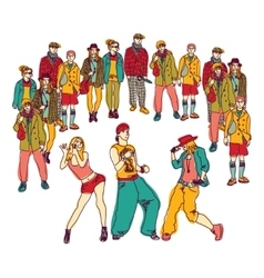 Street dance group people audience isolated vector