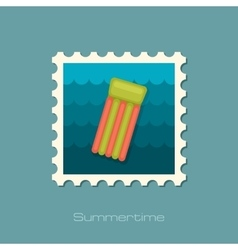 Floating mattress on beach flat stamp vector