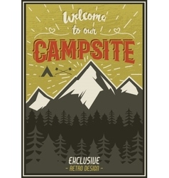 Retro travel typography poster with camping vector
