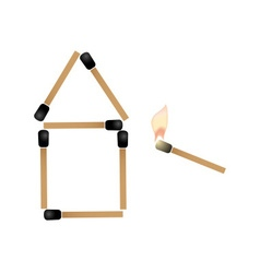 Simple house made of matches and burning match vector