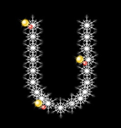 Abstract star U alphabet character vector image